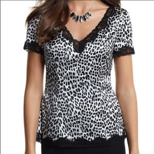 White House Black Market Satin Lace Leopard Blouse